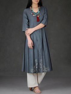 Buy Grey Hand Embroidered and Pleated Cotton Dobby Kurta Women Kurtas Online at Jaypore.com
