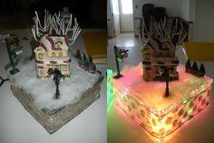 Make your own Christmas Light Scene - Glass Shadow Box, Indoor Christmas Lights, fake snow, Christmas figures, ribbon