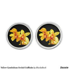 Shop Yellow Cymbidium Orchid Cufflinks created by Personalize it with photos & text or purchase as is!