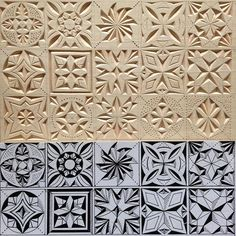 Size of the patterns: 4 cm * 4 cm. Material: linden (basswood). #chipcarving #woodwork