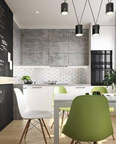 Modern Kitchen сочетание шкафчиков белое и под бетон, стулья Kitchen Cabinet Design, Modern Kitchen Design, Interior Design Kitchen, Kitchen Decor, Kitchen Designs, Kitchen Ideas, Life Kitchen, Eclectic Kitchen, Bars For Home