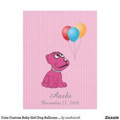 #Cute #Custom #Baby #Girl #Dog #Balloons #Pink #Fleece #Blanket #babyshower #gifts #cartoon