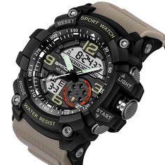 SANDA 759 Fashion Men Dual Display Watch Multifunction Swimming Diving Sport Watch - SartiShop