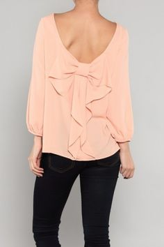 Bow Me A Kiss Top in Peach by Fash Forward Boutique