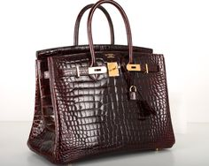 BI COLOR HERMES BIRKIN BAG 35cm BORDEAUX CROCODILE GOLD HARDWARE