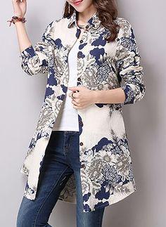 Flower Print Button Up Curved Hem Blouse - Women's Fashion Trends Batik Fashion, Hijab Fashion, Fashion Dresses, Fashion Blouses, Fashion Fashion, Modele Hijab, Batik Dress, Linen Blouse, Trendy Tops