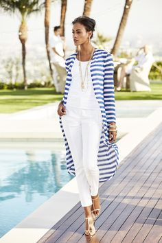 This striped cardigan brings instant drama to your look with its long length. Plus, the mesh-like material makes it the perfect lightweight layer. Length: polyester, rayon and spandex. Over 60 Fashion, Over 50 Womens Fashion, Look Fashion, Chic Outfits, Summer Outfits, Fashion Outfits, Fashion Trends, Fashion Pants, Striped Cardigan