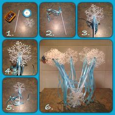 Frozen Inspired Wands.  1. You'll need a balloon stick, plastic snowflake, ribbon and a gem. Also a hot glue gun to stick it all together.  2. Cut and glue ribbon onto the balloon stick. I used 5 pieces of ribbon.  3. Glue snowflake on. 4. Glue gem on if desired. Bells and other embellishments could be used if you wanted. 5. Presto! You're done.  6. Cup with a snowflake on it made a wand holder. Worked out to be around 60 cents each. Enjoy! #frozen #diy