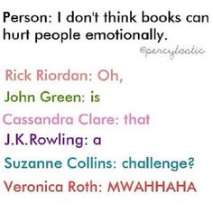 Rick Riordan - Percy Jackson - John Green - The Fault In Our Stars - Cassandra Clare - The Mortal Instruments - J. Rowling - Harry Potter - Suzanne Collins - Hunger Games - Veronica Roth - Divergent<<<<<don't even think about it authors! I Love Books, Good Books, Books To Read, My Books, Book Memes, Book Quotes, Percy Jackson, Fangirl, Suzanne Collins