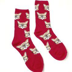 Nerd Cat Socks - Red. What a cute stocking stuffer!
