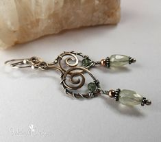Prehnite Mixed Metal Earrings