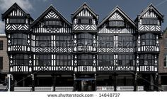 Photo about Black and white Tudor style buildings in Chester UK. Image of past, culture, cheshire - 5683012 British Architecture, Amazing Architecture, Art And Architecture, Tudor Decor, Tudor Monarchs, Black And White Building, Old Pub, Tudor History, Art History