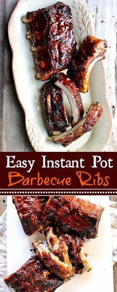 BBQ Ribs in the Instant Pot ~ fall off the bone tender in under an hour.