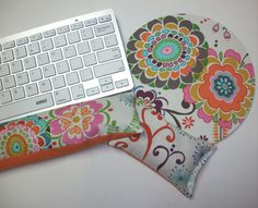 Mouse pad, keyboard rest, and mouse wrist rest set - Reversible pretty flowers orange dots coworker desk cubical office accessories