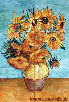 Mosaic picture based on the work of Van Gogh Sunflowers Mosaic Art Projects, Mosaic Crafts, Mosaic Ideas, Van Gogh Sunflowers, Mosaic Pictures, Mosaic Flowers, Vincent Van Gogh, Mosaic Glass, Art History