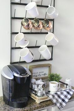 How to Set Up a Kitchen Coffee Station- kitchen- coffee- station- coffee bar- DIY- DIY projects- Do it Yourself- room design- Home Decor- Decoration Ideas- Room Decor Ideas- mug rack- rustic home decor- coffee sign- buffalo check- copper mugs Coffee Station Kitchen, Home Coffee Stations, Funky Home Decor, Diy Home Decor, Room Decor, Cafe Bar, Diy Bar, White Cottage, Do It Yourself Home