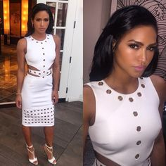 8 Cassie's Mayweather vs. Pacquiao Fight Cushnie et Ochs Spring 2015 White Eyelet Grommet Dress and Tom Ford Leather T-Bar Ankle Wrap Sandals