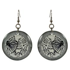 Grey Flower Round Earrings ~ Best selection of Tunics & matching accessories ~ Flat postage worldwide ~ Petite to Plus sizes ~ www.ilovetunics.com