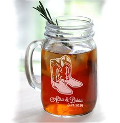 Cowboy boot wedding personalized mugs mason jar glasses wedding party