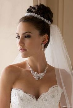 Ideas Wedding Hairstyles Updo With Veil High Bun Flower - Weddinghairstyles High Updo Wedding, Hairdo Wedding, Elegant Wedding Hair, Wedding Hair Pieces, Wedding Hair And Makeup, Tiara For Wedding, Rhinestone Wedding, Bridal Hair Updo With Veil, Bride Hairstyles With Veil