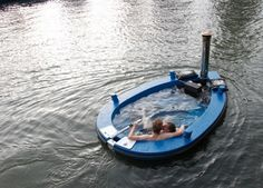 A Wood-Fired Hot  #Tub Boat !