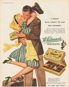 people in 1944 kissed like this over CHOCOLATES.  ah...it was a simpler time.