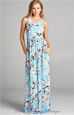 b44611fdd52 Bellamie Floral Racer Back Maxi Dress - Blue Blossom