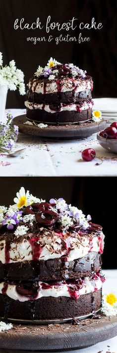 Ridiculously delicious-looking black forrest cake #cake #vegan #glutenfree
