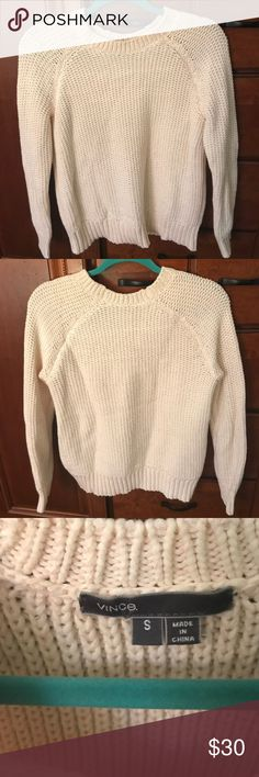 Vince cream sweater Thick Vince woven sweater! No damage or stains. Perfect for winter and Christmas! Vince Sweaters
