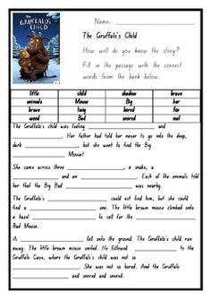 Gruffalo's Child Comprehension activity by The Wizened Owl Gruffalo Activities, Activities For Kids, Gruffalo Characters, 6th Grade Worksheets, Gruffalo's Child, Cardboard Animals, The Gruffalo, Comprehension Activities, Sustainable Development