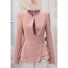 Stylish Slimming Fit Flouncing Hem Puff Long Sleeve Suit Coat for Women Work Fashion, Hijab Fashion, Fashion Dresses, Fashion Design, Gothic Fashion, Suits For Women, Clothes For Women, Sammy Dress, Work Attire