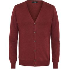 Fay - Cardigan (1.015 RON) ❤ liked on Polyvore featuring men's fashion, men's clothing, men's sweaters, burgundy, mens burgundy sweater and mens cardigan sweaters