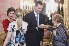 "King Felipe VI of Spain (2R) and Queen Letizia of Spain (L) attend an official lunch for ""Miguel de Cervantes 2015"" award at the Royal Palace on April 22, 2016 in Madrid, Spain."
