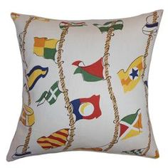 Cotton throw pillow with a multicolor flag motif and down-feather fill. Made in the USA   Product: PillowConstruction Material: Cotton and 95/5 down fillColor: Multi Features:  Insert includedHidden zipper closureMade in the USA Dimensions: 18 x 18 Cleaning and Care: Spot clean