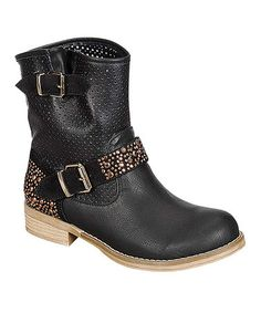 ALL A BOOT THE ANKLE LOOK--Look what I found on #zulily! Black Samantha Rhinestone Buckle Boot #zulilyfinds