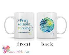 Coffee Mug, Ceramic Mug, Religious Mug, Flower Coffee Mug, 11oz or 15oz, Watercolor Art Print Mug, Two-Sided Print, Coffee Lover Gift by AmourableArt on etsy