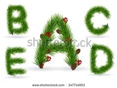 ABCDE, vector christmas tree font