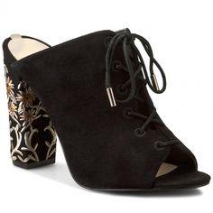 Șlapi GUESS - Editta FLEDA1 ESU06 BLACK Heeled Mules, Wedges, Booty, Shoes, Black, Fashion, Moda, Swag, Zapatos