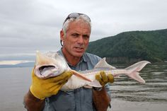 Jeremy Wade with a white sturgeon. Photo courtesy of Animal Planet.