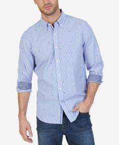 Nautica Men's Big & Tall Pinstripe Anchor-Print Shirt - Blue 4XLT