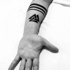 2017 trend Tattoo Trends - Cool Solid Back Ink Valknut Tattos For Men On Inner Forearms...