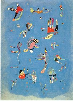 (Kandinsky) I love this one because it evokes plastic figure toys from my childhood. How it is calculatingly scattered in different positions is what animates this piece