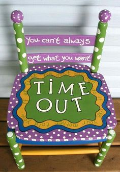 Time out chair This would make timeout a little easier I believe. Its fun to stare at Funky Painted Furniture, Kids Furniture, Hand Painted Chairs, Painted Stools, Distressed Furniture, Time Out Chair, Kids Room, Crafty, Thinking Chair