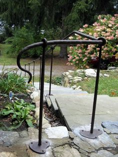 Wrought Iron Handrail with Hammered Finish