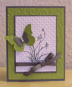 Crafting Creations by Imke: Sympathy Card.  Love the gray and green colour scheme for this card.