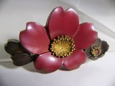 【江月】アンティーク・祐?造 金工 鍍金桜の花の帯留め 28g_画像1