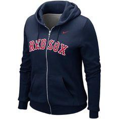 #bostonredsoxziphoodie Nike Boston Red Sox Ladies Classic Full Zip Hoodie - Navy Blue $69.95