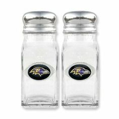 NFL Ravens Glass Salt and Pepper Shakers Real Goldia Designer Perfect Jewelry Gift goldia. $20.50