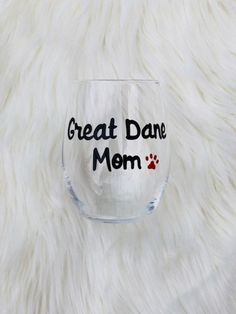 Great Dane Mom handpainted stemless wine glass/Dog Mom wine glass/Great Dane Mom mug/Great Dane Mom gifts/Dog Lover gift/READY TO SHIP Wine Mom, Great Dane Puppy, Stemless Wine Glasses, Beer Mugs, Champagne Flutes, Glass Design, Dog Mom, Hand Painted, Crystals