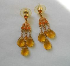 Fashion Earrings Chandelier Gold Faceted Glass Beads Rhinestones 2'' Posts Drop #Unbranded #DropDangle
